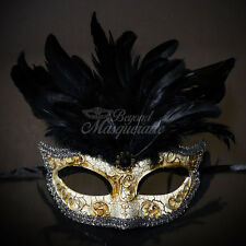 Masquerade Mask Feather Black Venetian Mardi Gras Masks for Women M2495
