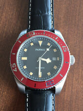 Parnis 43mm Sapphire Glass Red Bezel Black Dial Miyota Autotmatic Men date watch