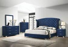 4 Pc Blue Velvet Crystal Tufted King Bed N/S Dresser Bedroom Furniture Set Sale
