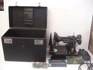 Vintage 1955 Singer Featherweight 221 Sewing Machine w/ Case Accessories Working