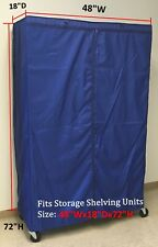"""Storage Shelving unit cover, fits racks 48""""Wx18""""Dx72""""H Cover only Royal"""