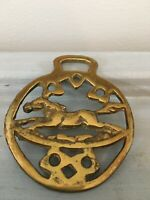 Antique Horse brass Medallion of a Galloping Horse UK Cottagecore