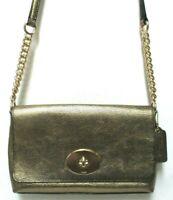 Coach Crosstown Leather Metallic Cross-grain Cross-body Turn-Lock Purse Bag