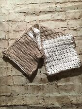 Tan And White Women's Homemade Knitted Infinity Holiday Scarf.