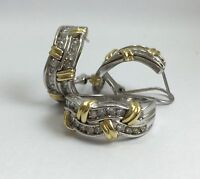 14KT WHITE & YELLOW GOLD WOMEN RING AND EARRING SET With Diamond