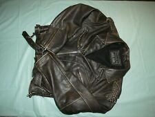 Guess Jeans Leather Jacket  Distressed Motorcycle Biker Coat Vintage Edition MED