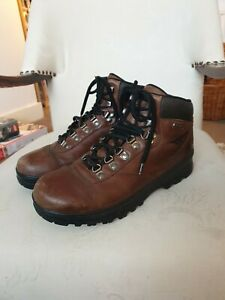 Brown Leather Hi-Tec Waterproof Walking Boots Sz 7 Lace Up Supportive