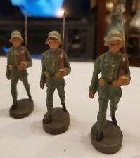 3 VINTAGE COMPOSITE ELASTOLIN GERMANY. GERMAN MILITARY FIGURES MARCHING RIFLEMEN