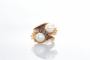 Antique 1950s 8mm Cultured Pearl Blue Sapphire 14k Yellow Gold Ring HEAVY 10g