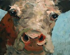 ELLE RAINES COW PAINTING FARM ANIMAL ART DAILY PAINTING A DAY