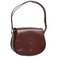 Auth CARTIER Must De Cartier Shoulder Bag Bordeaux Leather Vintage France S08006