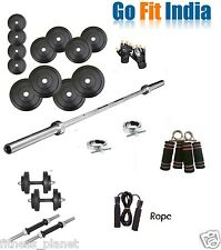 Gofit 30 Kg Home Gym Set+5 Ft Plain Rod+Dumbell Rods+Accessories