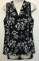 Vince Camuto Small Tank Top Black & Gray Floral V-Neck Sleeveless Blouse
