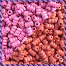 100 Perles Madera Tubo 2 coloris Rojo / Fucsia