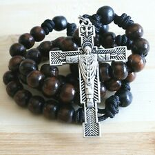 Rosary Paracord Brown and Black Wood Wearable Rope Cord Catholic Rosario