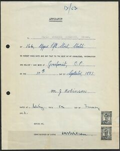 "Southern Rhodesia 1953 KGVI ""Affidavit"" Revenue Document Bearing 6d x 2"