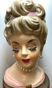 """Vintage Rubens 485 Japan Lady Head Vase 6"""" Necklace Earrings Pink"""