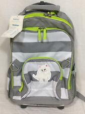 """Pottery Barn Kids Gray/White Fairfax Rolling Backpack Bag """"Kitty"""" Patch"""