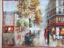PARIS ROMANCE STREETS WALL ARTWORK DIGITAL PRINTED COTTON PANEL FABRIC