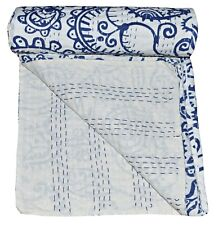 Twin Size Blue Kantha Quilt Indian Reversible Bedspread Bedding Throw Blanket