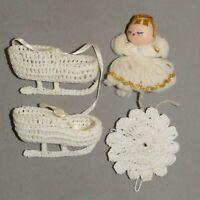 Christmas Ornament Crochet Angel Skates Doily Lot ofRANA'S VARIETY USA SELLER