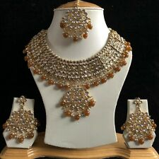 BROWN GOLD INDIAN KUNDAN COSTUME JEWELLERY NECKLACE EARRINGS CRYSTAL SET NEW 221