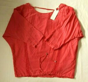 GAS JEANS GAS WOMAN GYORGY SILK MUSLIN LIGHT CORAL BLOUSE  - SIZE SMALL - BNWT