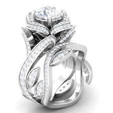 Certified Flower Lotus White Diamond 14K White Gold Engagement/Wedding Ring Set