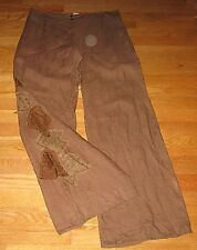 Mario PUCCI Cecconi Italy Womens Linen Dress Pants Wide Leg Brown Size 10 12