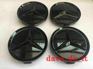 4x New Mercedes Benz Wheel Centre Caps 75mm Badges Black Hub Emblem A C E