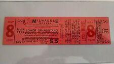 1962 Pittsburgh Pirates @ Milwaukee Braves Full Ticket Unused Vintage Baseball