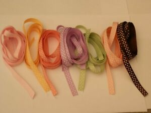Pastel satin polka dot ribbons various lengths & colours - craft room clear out