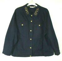 Denim & Co. Embroidered Jacket Stretch Blue Sz 2X Button Long Sleeve Women EM61