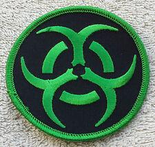 "BIOHAZARD PATCH Green 3"" Cloth Badge/Emblem Biker Jacket Bag Iron or Sew On"