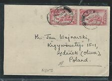 BARBADOS (P2906B) 1954  KGVI 4C PR ON COVER TO POLAND