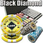 New 1000 Black Diamond 14g Clay Poker Chips Set with Aluminum Case - Pick Chips!