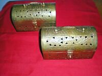Two Vintage Pierced Brass Hinged Dome-Lidded Cricket Treasure Box Chests, India
