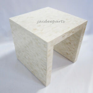 Handmade Natural Bone Inlay Zigzag Chevron side Table End Table