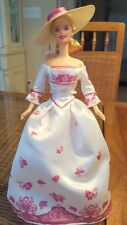 Victorian Tea Barbie Doll Play Tea Set White Pink Dress Hat Mattel 2002 Deboxed