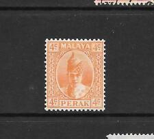 1938 King George VI SG107 4c. Orange   Mint Hinged PERAK