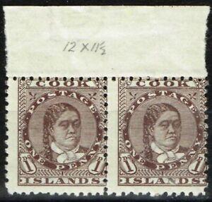 Cook Islands 1893 1d Brown SG5 Fine MNH & LMM Marginal Pair
