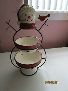 NEW St Nicholas Square Yuletide 2 Tier Server SnowMan Cardinal 15 in tall