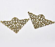 30 Bronze Tone Filigree Triangle Wraps Connectors