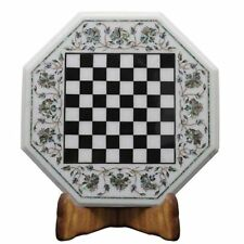 "15"" Marble Chess game Table Top Semi Precious stones art  Handmade Home decor"