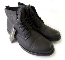 NEW MENS ANKLE BOOTS MILITARY COMBAT STYLE FAUX FUR LINED SHOES LACE UP /BLACK