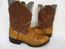 Panhandle Slim Tan Leather Short Cowboy Boots Mens Size 9.5 E Style 54316