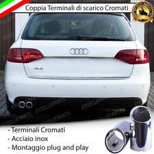 COPPIA TERMINALE SCARICO CROMATO LUCIDO ACCAIO INOX AUDI A4 B8 8K AVANT DOPPIO
