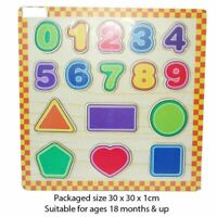 Wooden Shape & Number Puzzle Sorting Teaching Toy  Jigsaw Educational Children