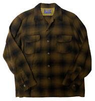 Vtg Pendleton Wool Shadow Plaid Board Shirt Men's Medium Loop Collar Made USA