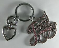 Retired Juicy Couture Rose Pave Crystal Key Chain Ring Purse Charm